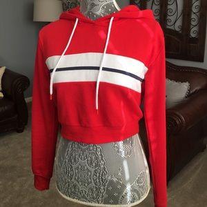 cropped red hoodie